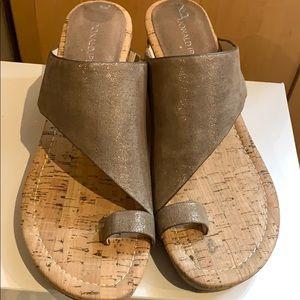 Donald J Pliner Gyer Sandals. Metallic bronze.